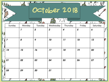 Monthly Calendars- Wild-At-Heart Boho monthly calendars 2017 2018 PDF