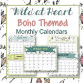 Monthly Calendars- Wild-At-Heart Boho monthly calendars 2018-2019 PDF