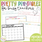 Monthly Calendars and Checklists Printables Pretty Paper for Busy Teachers