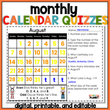 Monthly Calendars and Quizzes Pack