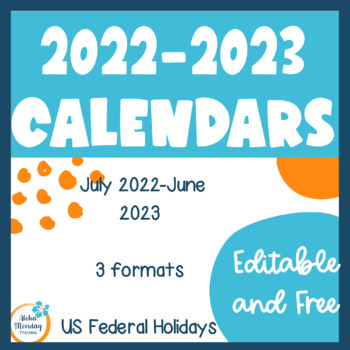 Monthly Calendars for the 2017-2018 School Year