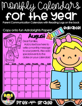 Monthly Calendars for the Year {EDITABLE}