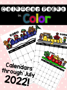 Monthly Calendars in Color to 2022