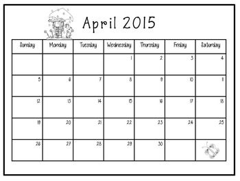Monthly Calendars with Task Cards 2015 Customizable!