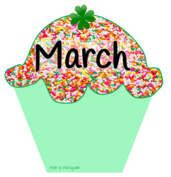 Monthly Candy Sprinke Theme Cupcake Birthday Bulletin Board Display