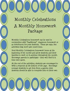 Monthly Celebrations Homework