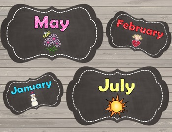 Monthly Chalkboard Labels with Pictures {EDITABLE}
