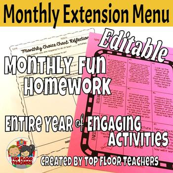EDITABLE Monthly Fun Homework Choice Menu