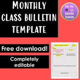 Monthly Class Bulletin Template