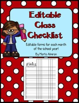 Monthly Class Checklist Form - EDITABLE - FREEBIE