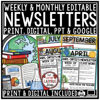 Monthly & Weekly Newsletter Template Editable Entire Year Class Management
