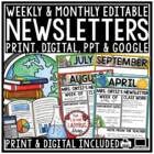Monthly & Weekly Newsletter Template Editable Entire Year Class Communication
