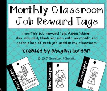 Monthly Classroom Job Brag Tags Editable