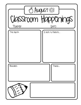Monthly Classroom Newsletter August