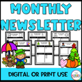 Monthly Classroom Newsletter (Editable)