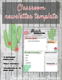 Monthly Classroom Newsletter Template Cactus Themed