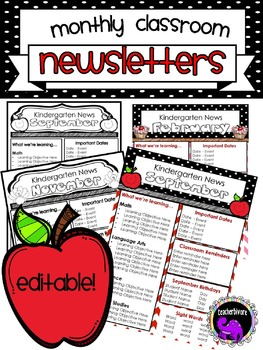 Monthly  Classroom Newsletter Template EDITABLE