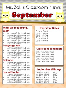 Monthly Classroom Newsletter Template Editable - Chevron Owls
