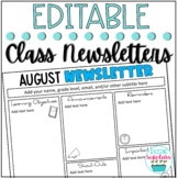Monthly Classroom Newsletter Templates EDITABLE