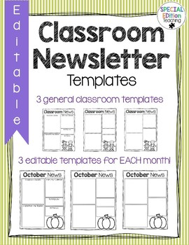 Editable Monthly Classroom Newsletters