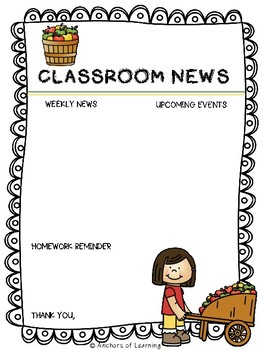 Monthly Classroom Newsletters