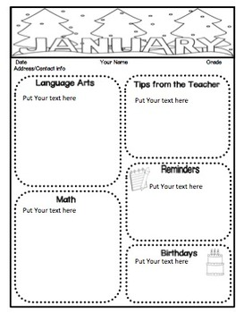 Monthly Classroom Newsletters (EDITABLE Color and Black & White Versions)