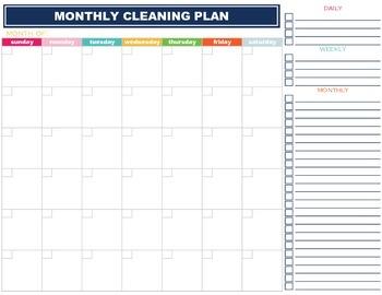 Monthly Cleaning Planner Checklist Calendar