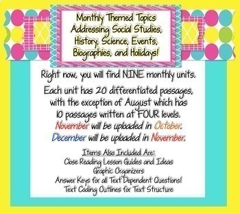 Monthly Close Reading Club {Use for Differentiated Weekly Homework}