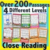Monthly Close Reading BUNDLE: 200+ Passages 4 Reading LEVELS 2500+pg Activities