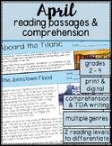 April Close Reading Passages & Comprehension Questions