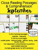 September Close Reading Passages & Comprehension Questions