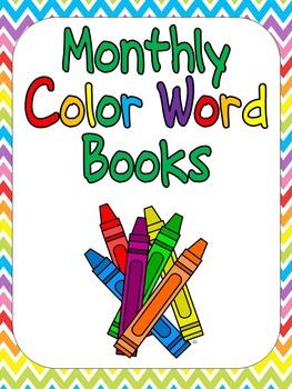 Monthly Color Word Emergent Readers- Little Books for Kindergarten