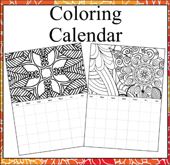Monthly Coloring Calendar- Coloring Calendar Pages by ...