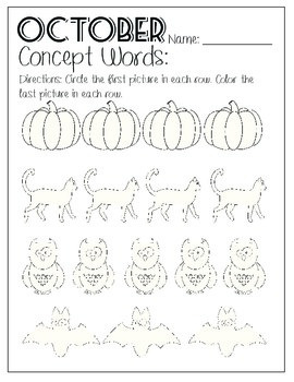 Monthly Concept Word Worksheet Freebie