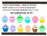 Monthly Cupcake Birthday Bulletin Board Display in Chevron Theme
