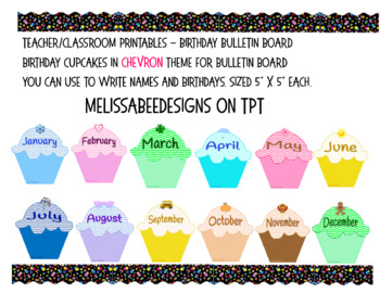 Monthly Cupcake Birthday Bulletin Board Display in Chevron Theme