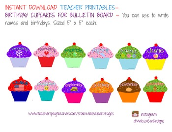 Monthly Cupcake Birthday Bulletin Board Display