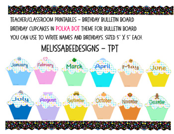 Monthly Cupcake Birthday Bulletin Board Display in Polka D