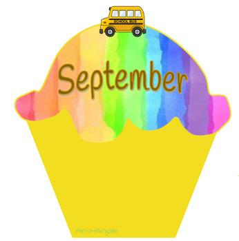 Monthly Cupcake Birthday Bulletin Board Display in Rainbow Theme