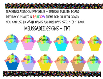 Monthly Cupcake Birthday Bulletin Board Display in Rainbow Theme