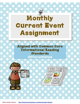 Monthly Current Event Assignment Aligned with CCS (Differentiated)