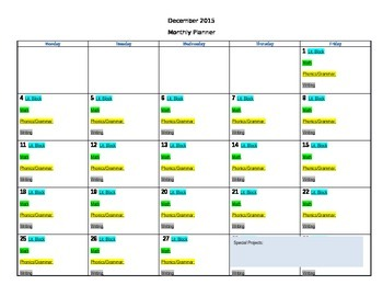 Monthly Curriculum Planner