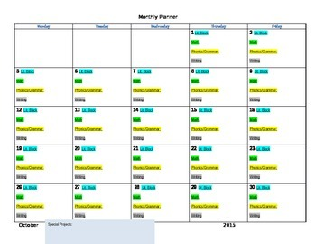 Monthly Curriculum Planner