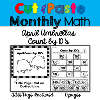 Monthly Cut & Paste Math: April Umbrellas Counting by 10