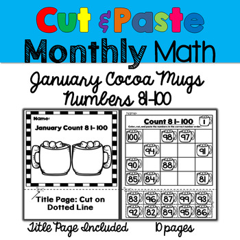 Monthly Cut & Paste Math: January Cocoa Mugs 81-100