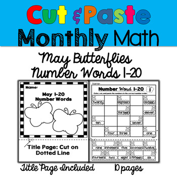 Monthly Cut & Paste Math: May Butterflies Number words 1-20