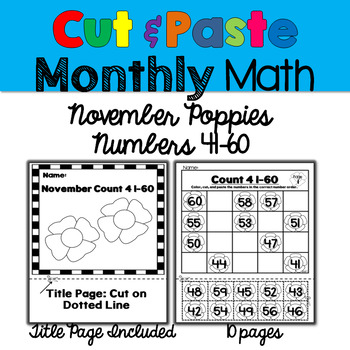 Monthly Cut & Paste Math: November Poppies 41-60