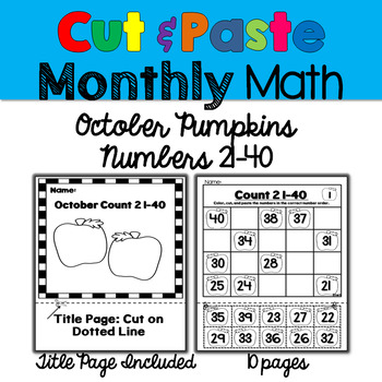 Monthly Cut & Paste Math: October Pumpkins 21-40