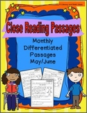 Monthly Differentiated Close Reading Passages May/June (Primary)