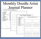 Monthly Doodle Artist Journal Planner-30 Pages of Monthly Prompts for Art Doodle